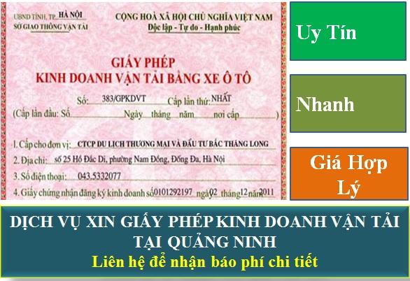 Dịch vụ xin giấy phép kinh doanh vận tải tại Quảng Ninh